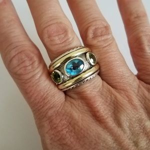 David Yurman Sterling 18k Blue Topaz Peridot Ring